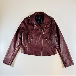 Burgundy Faux Leather Jacket Rose Dreamers Large